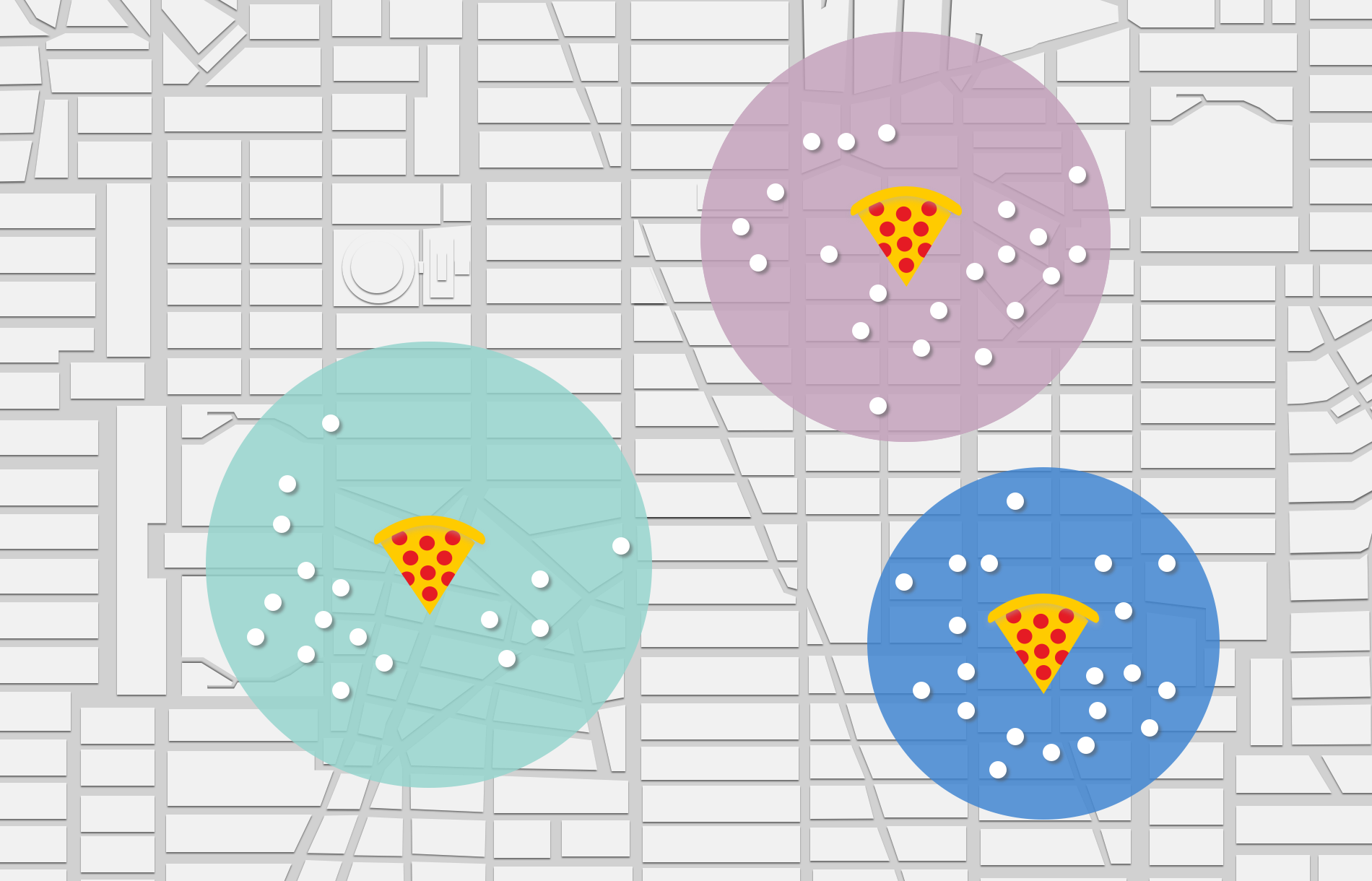 Clustering for optimal pizza delivery.